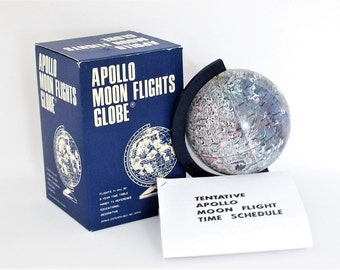 Vintage (New) Apollo Moon Flights Globe -  New In Original Package Facsimile Schedule