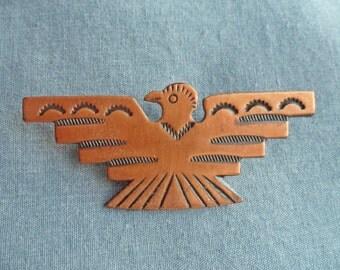 Vintage BELL COPPER Phoenix Bird Southwest Brooch