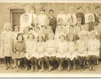 Vintage RPPC Class photo girls in front