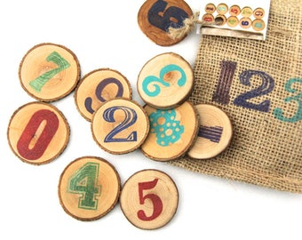 mini number set of wood rounds in a little burlap bag
