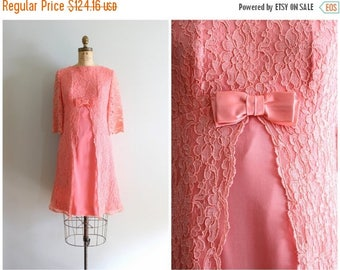 SPRING SALE salmon pink lace & chiffon party dress - vintage 60s mod dolly dress / 1960s empire waist dress / pink lace dress - bridesmaid d