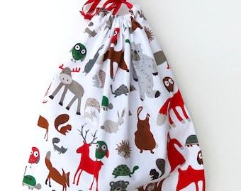 Handmade White/Red  Woodland Print Toy/Gift/Storage Drawstring Bag