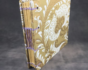 White and Gold Patterned Coptic Bound Journal