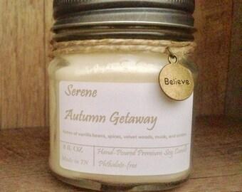 Mason Jar Soy Candle - Serene Autumn Getaway - Vintage Jar - Farmhouse decor - Fall Candle
