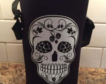 Craft Beer Sugar Skull Growler Cooler Cozie, Fathers Day Gift, Perfect for Any Hops Lover, Homebrew, Beer Snob, Beer Geek, Birthday Gift
