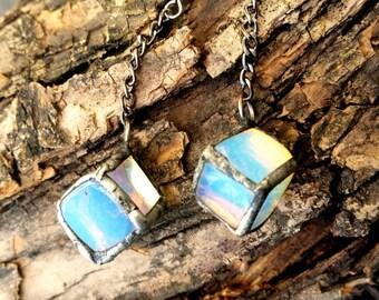 Silver & opalite metalwork earrings