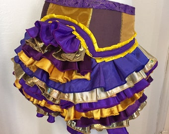 Ruffle Bustle purple gold royal Burning Man Tutu Pixie Fairy Costume Steampunk Edwardian Victorian Gypsy Burlesque Renaissance goth