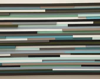 Modern Wood Sculpture Wall Art - Lines - 24 x 48