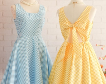 Blue dress Yellow dress Blue sundress Yellow plaid dress Yellow bridesmaid dress Blue bridesmaid dresses Yellow party dress Blue party dress