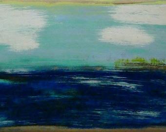 seascape painting on wood