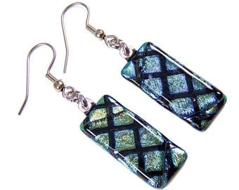Dichroic Glass Dangle Earrings - Teal Green Golden Yellow Diamond Stripes Patterned Fused Glass - Surgical Steel French Wire or Clip On - 1""