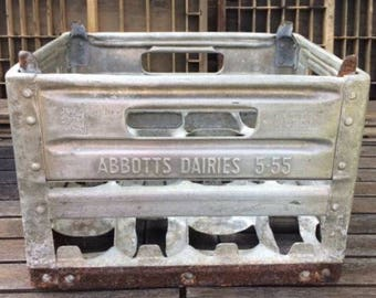 "FLASH SALE! 25% off when you enter ""25FLASH"" - Vintage Abbotts Dairies Metal Milk Crate"