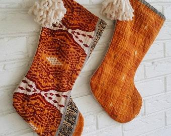 Boho Christmas Stocking with Pom Pom - Modern Bohemian Christmas Decor- Kantha Quilt Stocking Personalized