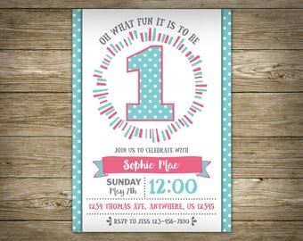 1st Birthday Party BIRTHDAY INVITATION, DIY Printable Birthday Invitation, Personalized, Studio Veil