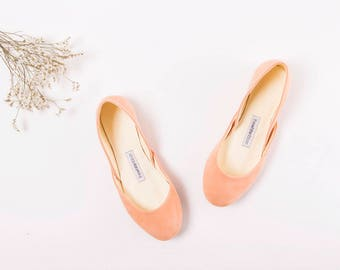 The Suede Ballet Flats in Apricot | The Bridal Shoes in Apricot Blush | The Pointe Style Shoes in Apricot