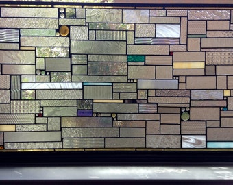 Stained Glass FREE SHIPPING! Subtle colored stained glass transom window in clear textured glass Custom Ordered