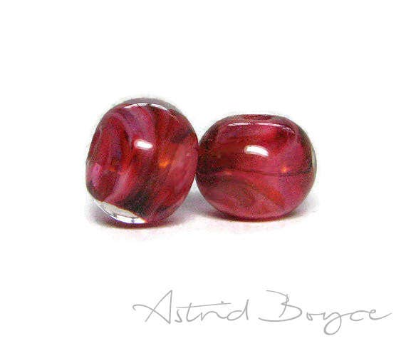Rose Petals Artisan Lampwork Bead Pair - Gorgeous Deep Pinks and White over Clear Glass like Rose Flower Petals -  Pretty with Brown Leather