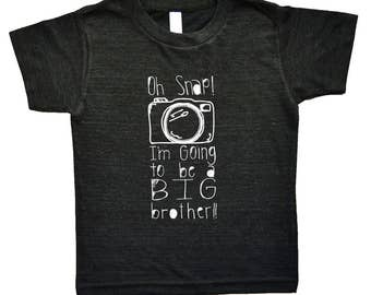 Kids Brother Shirt - Oh Snap! I'm Going To Be A Big Brother - Funny Birth Announcement -  Camera Graphic Tee