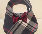 Dapper Boys  plaid tweed x-small bib bow tie snazzy dressy dapper baby shower birthday thanksgiving fall pictures christmas