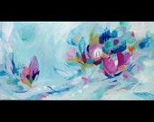 Winter Flowers Abstract Painting Original Winter Flowers in the Snow Abstract Wall Decor Blue Wall Decor Pink Blue Flower Abstract Wall Art