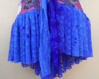 "20%OFF funky pixie faux suede wrap belt/skirt..32"" across plus long lace ties.FREE Shipping"