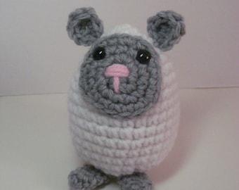 Stuffed White Lamb Egg Buddy, Crocheted Easter Amigurumi, Novelty Gift under 10, Ready to Ship Small Sheep Farm Animal Plush Toy