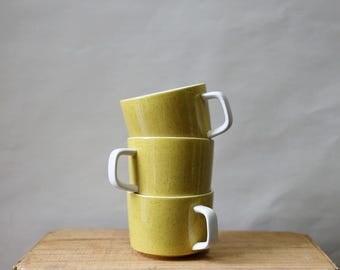 Japanese Stoneware Mugs, Set of 3, Speckled Yellow, Mikasa Mediterranea