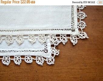 Vintage Cream Lace Cotton Rectangle Table Scarf Pair