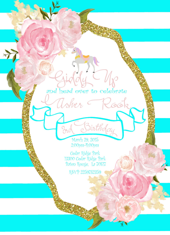 Carousel Horse Birthday Party Invitation, Pony Party, Aqua Glitter ...