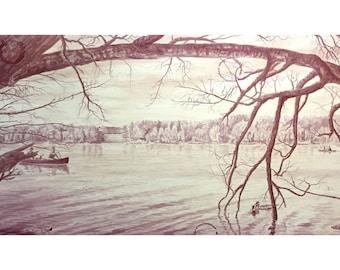 "Wine Painting - ""Skytop Lake"""