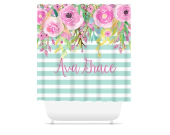 Personalized Shower Curtain Floral Fabric Shower Curtain Custom Floral Stripes Bathroom Home Decor