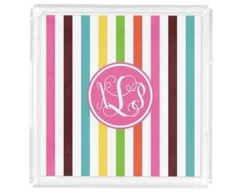 "Personalized Square Lucite Tray - Monogram Vanity / Perfume Tray - 8"" x 8"" - Hostess Gift - Decorative Tray - Preppy Stripes"