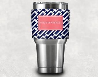 Personalized Coffee Sleeve/ Neoprene Wrap with Monogram- Design your Own - custom Yeti Tumbler Sleeve, coffee lover gift, teacher gift