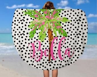 Personalized Palm Tree Round Beach Towel - Custom Roundie Beach Towel  - Soft Velour Monogram Beach Towel, Custom Beach Towel