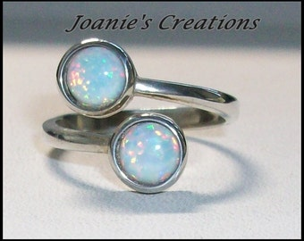 Simulated Opal Bypass Ring in Sterling Silver