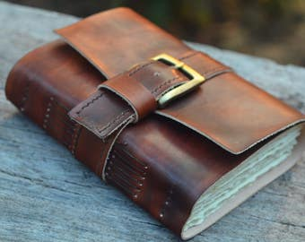 "Strong chunky leather journal,  5X7"", Rustic , LINED or plain paper"