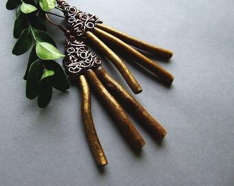 SALE Bohemian Old Gold Earrings, Aztec Art Inspired Golden Earrings, Aztec Earrings, Ancient Style Big Dangle Earrings