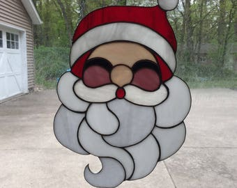Stained Glass Christmas Santa Claus Panel Suncatcher