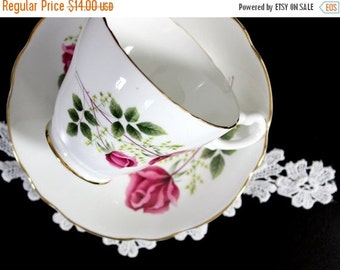 Floral Teacup, Tea Cup and Saucer, Royal Ascot. English Bone China Pink Roses Motif 12189