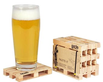 Mini Pallet Coasters : Set of 5 designer wooden coasters