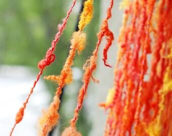 Handspun Hand Dyed Locks, BFL and Silk Yarn, Art Yarn, Tailspun Yarn, Yarn from Raw Wool,  Orange Yellow Pink, 27 yards