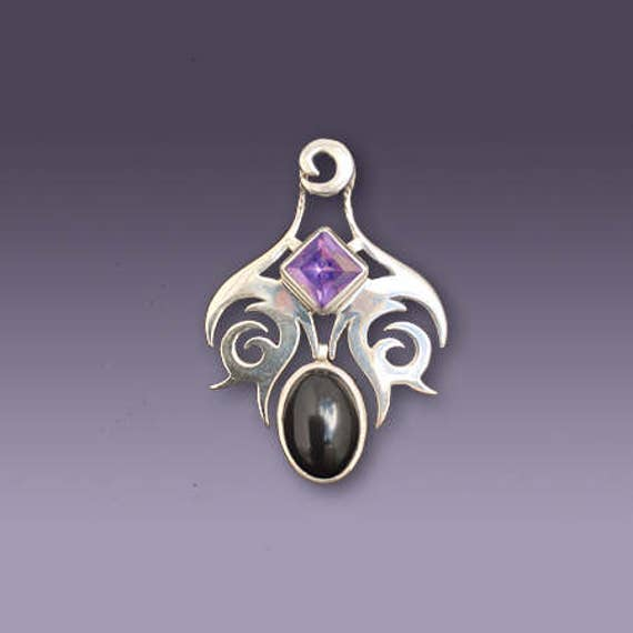 70% OFF CLEARANCE SALE! Spirals Tribal-Celtic Pendant with Black Onyx and Amethyst