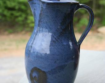 Pottery Pitcher Cobalt Glaze NC Pottery