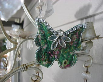 Mosaic Magnet ~ Green Floral Butterfly