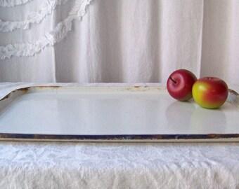 Vintage Enamelware Tray White Enamelware Tray Navy BlueTrim Shabby Cottage Tray Kitchen Tray 1960s