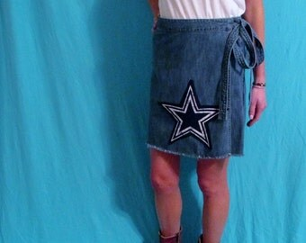 Dallas Cowboys Game Day Vintage Denim Mini Skirt - FREE SHIPPING