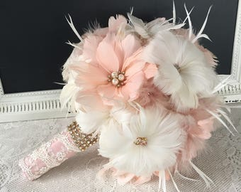 Rose gold Wedding flowers, Feather bouquet,  Bridal bouquet, Gatsby Bouquet, Brooch bouquet, Blush Wedding bouquet, YOUR CHOICE COLOR