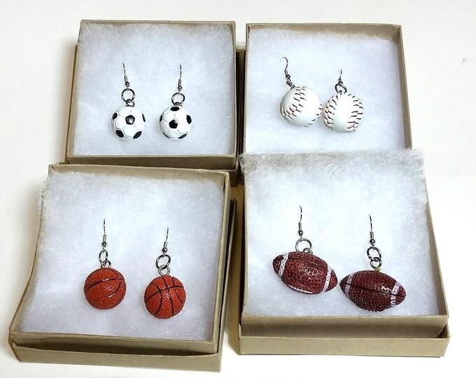 Sports Ball Earrings, Baseball & Bat Earrings, Soccer Ball Earrings, Basketball Jewelry, Football Earrings, Gift for Her, Gift for Women