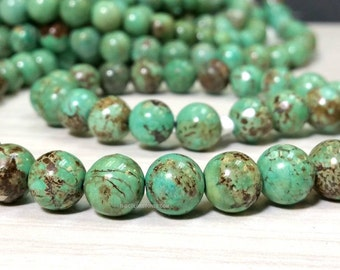 SALE 16 inch A Grade 10 mm Quality Natural Turquoise Smooth Round Beads - Gemstone - December Birthstones (LG7225NW28Q5)