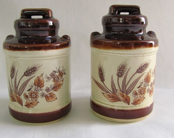 Vintage Brown Milk Jug Salt and Pepper Shakers Wheat and flowers